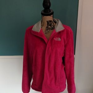 North Face hot pink fuzzy jacket